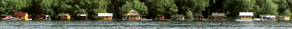 Floating cabins on the Sava River